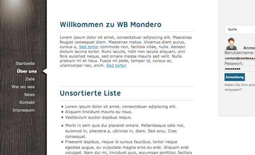 mondero - Websitebaker Templates
